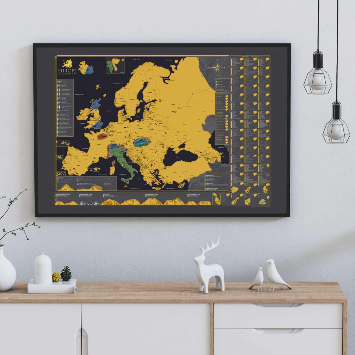 Carte de l'Europe à gratter - sur un mur