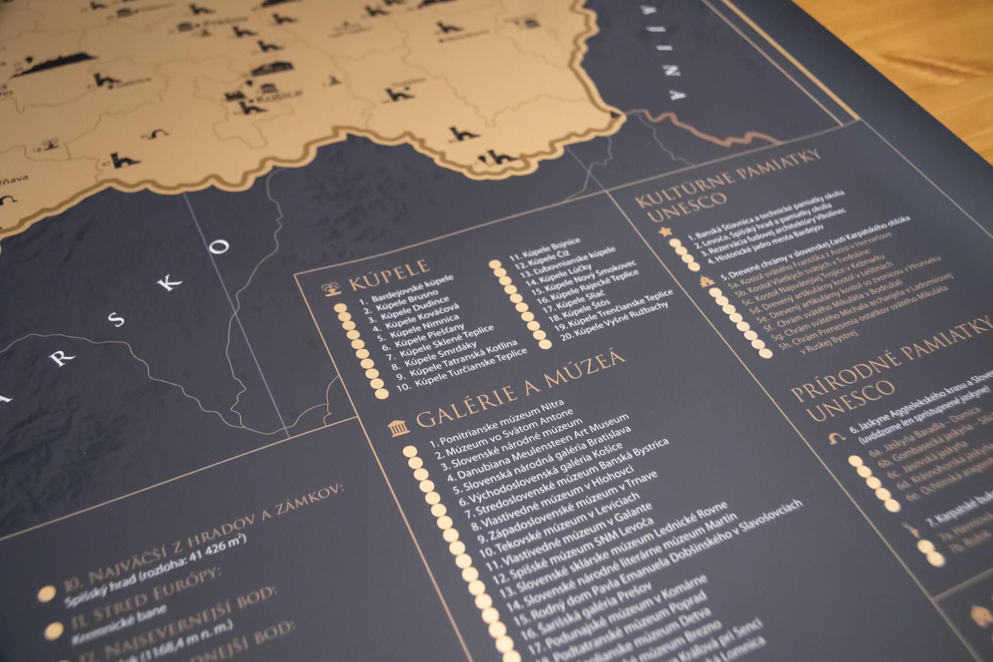 Carte de la Slovaquie à gratter - détails des régions