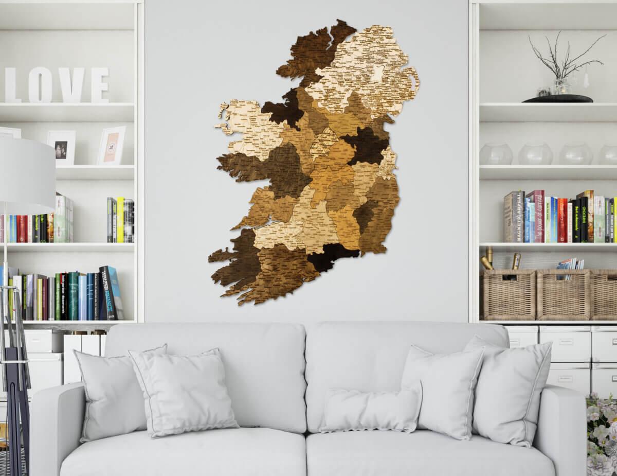 Carte de l'Irlande en bois