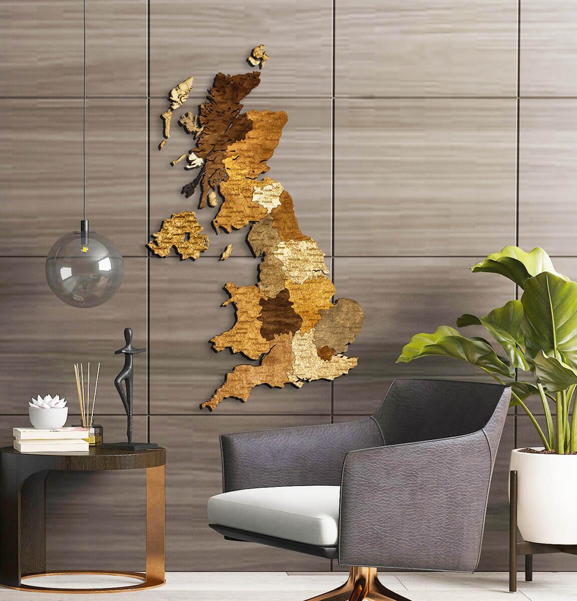 Carte du Royaume-Uni en bois