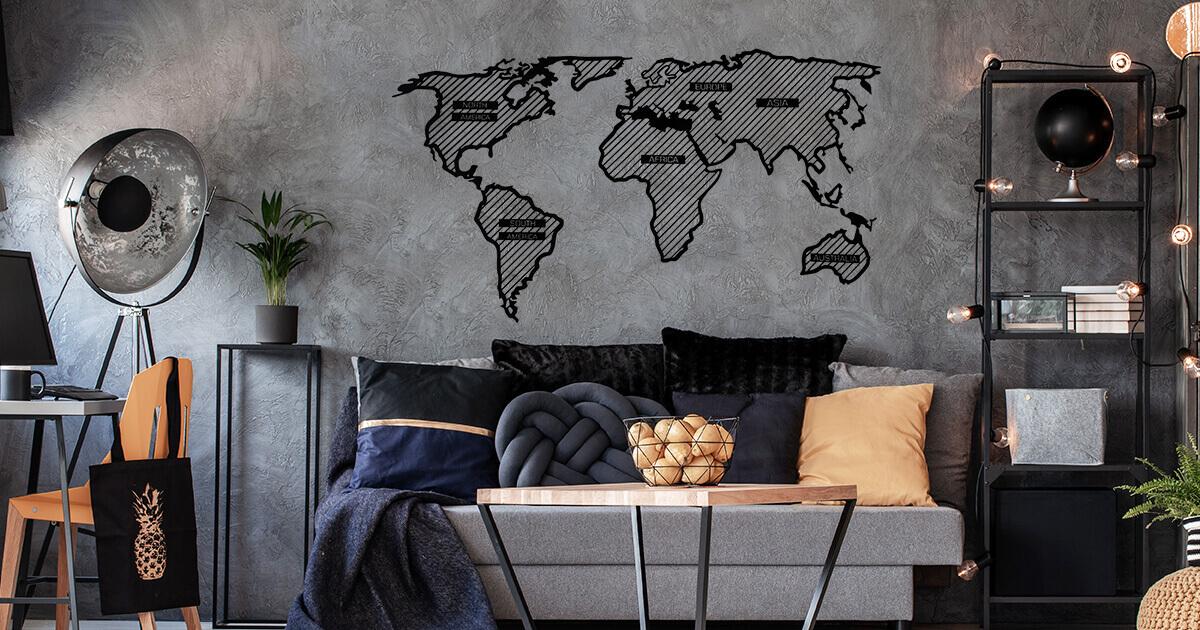Carte du monde hachurée en bois Adventurer