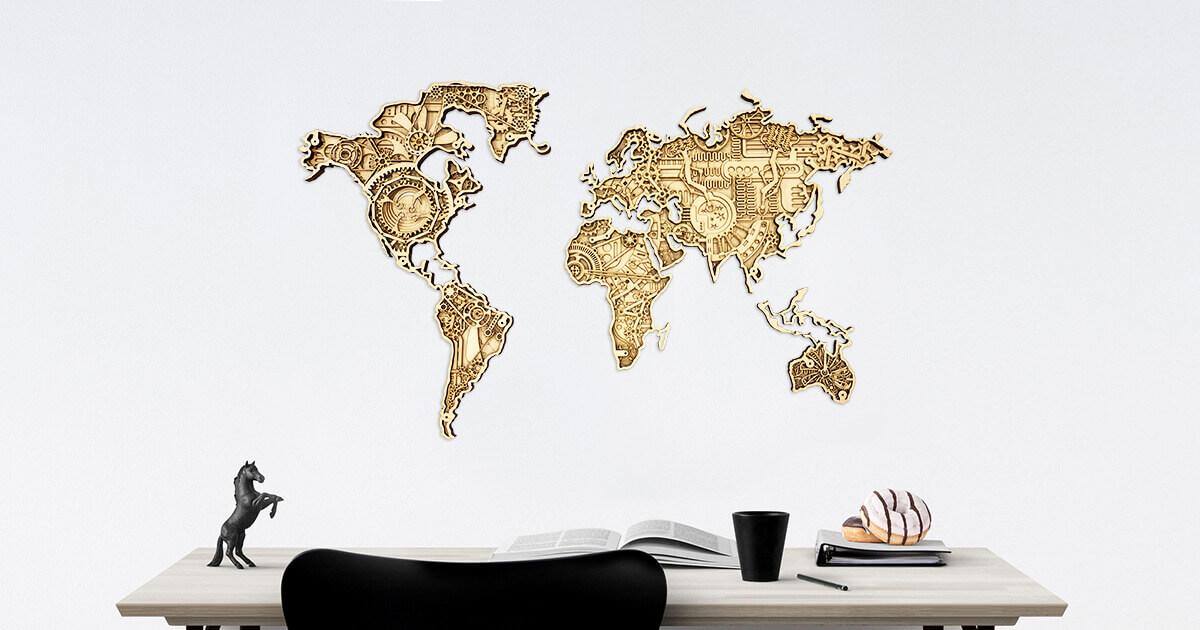 Carte du monde en bois industrielle - montée sur un mur