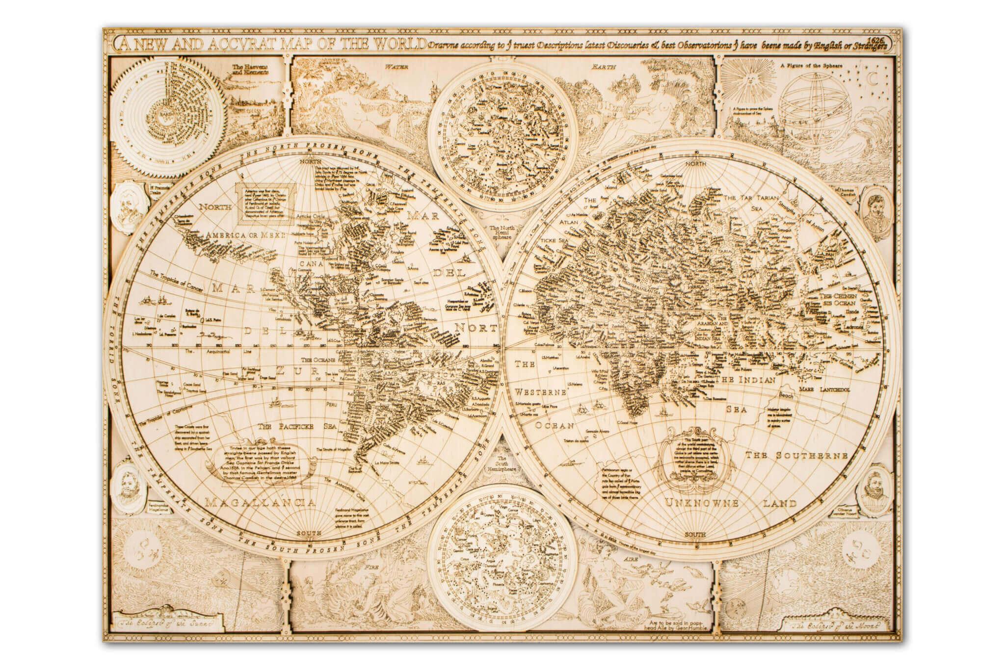 Carte du monde historique en bois - détail complet