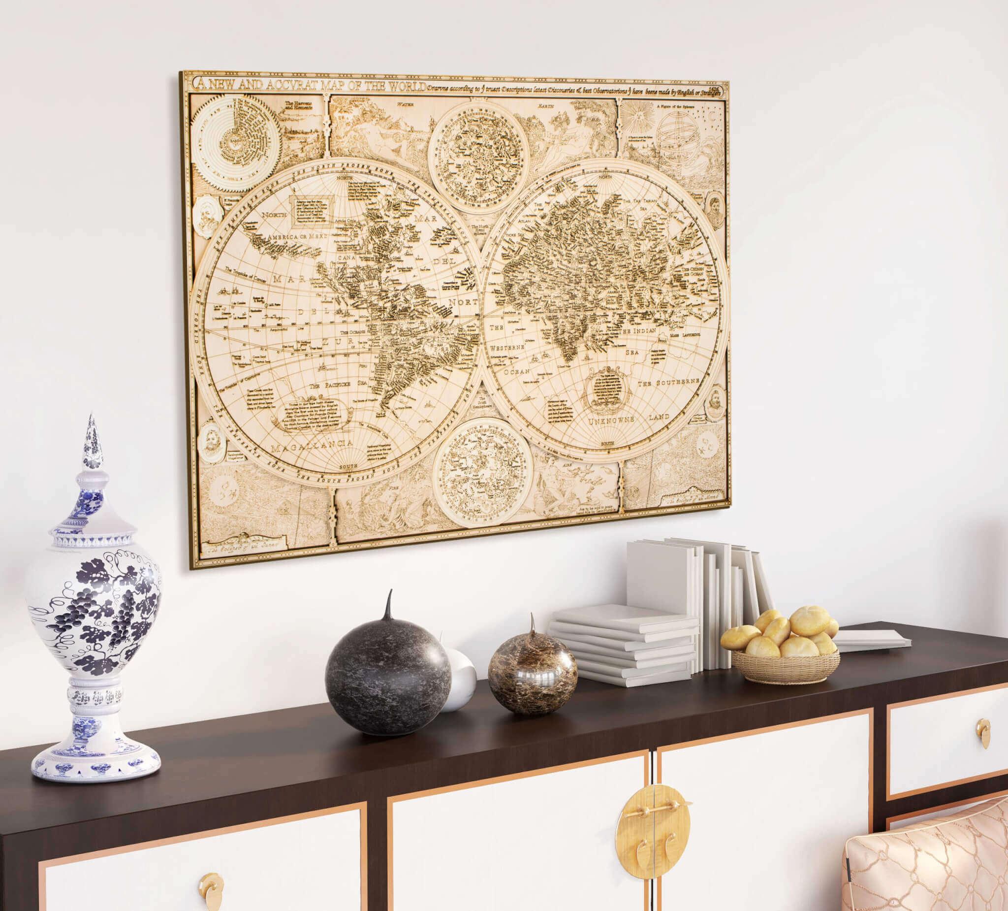 Carte du monde historique en bois - de 1626