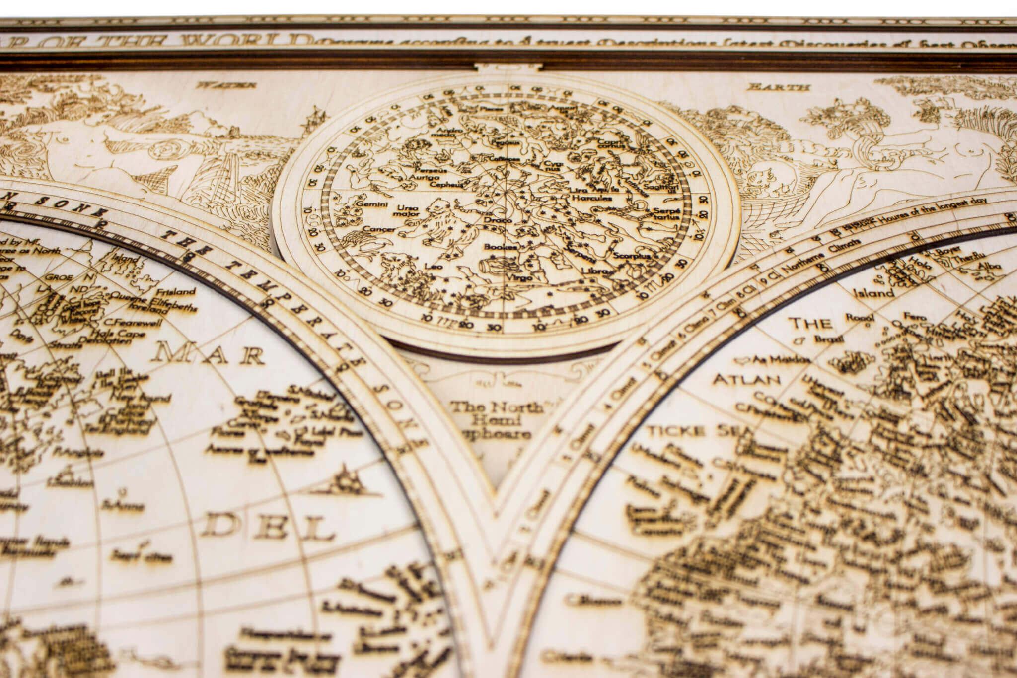 Carte du monde historique en bois - détail des gravures