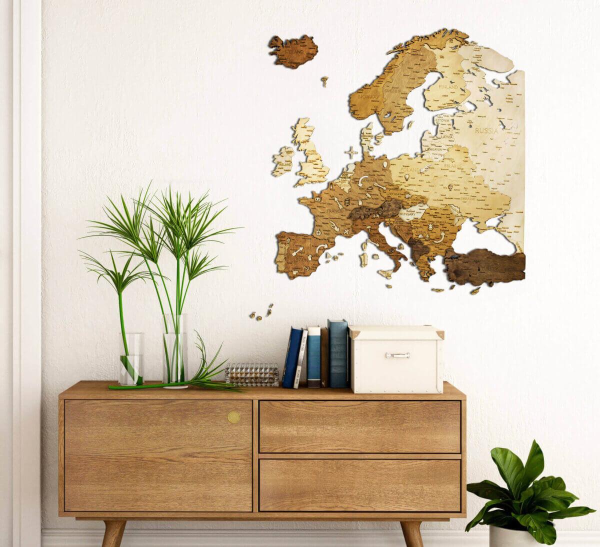 Carte de l'Europe en bois - décoration murale