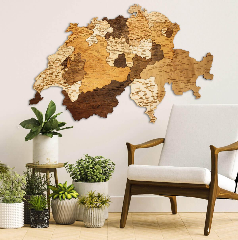 Carte de la Suisse en bois