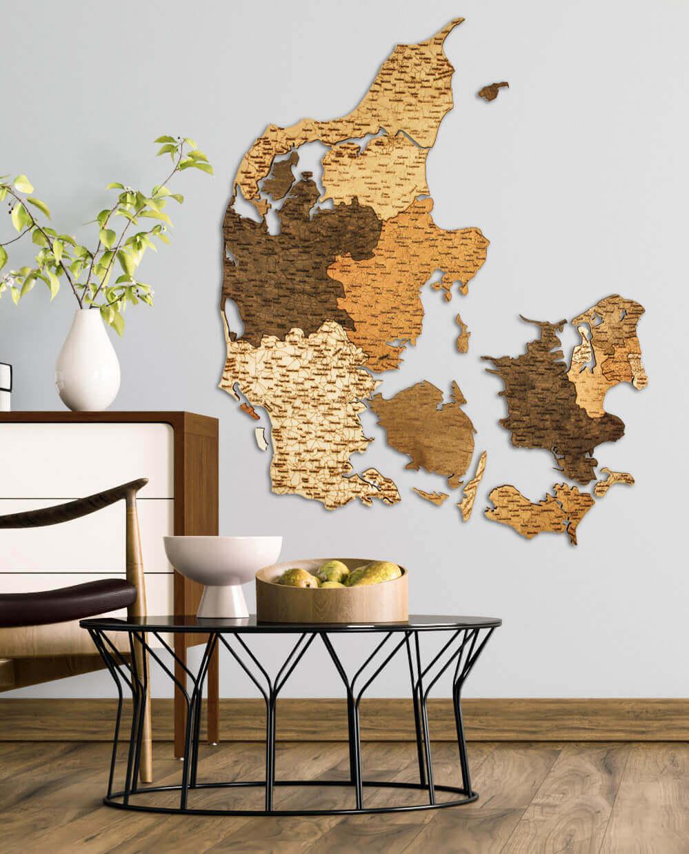 Carte du Danemark-Bas en bois