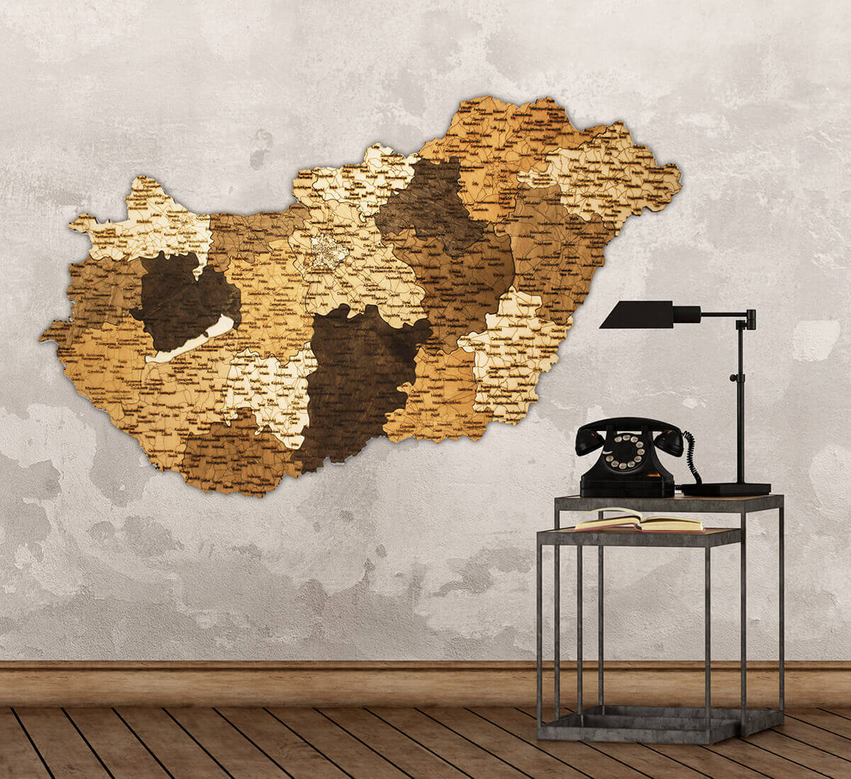 Carte de la Hongrie en bois