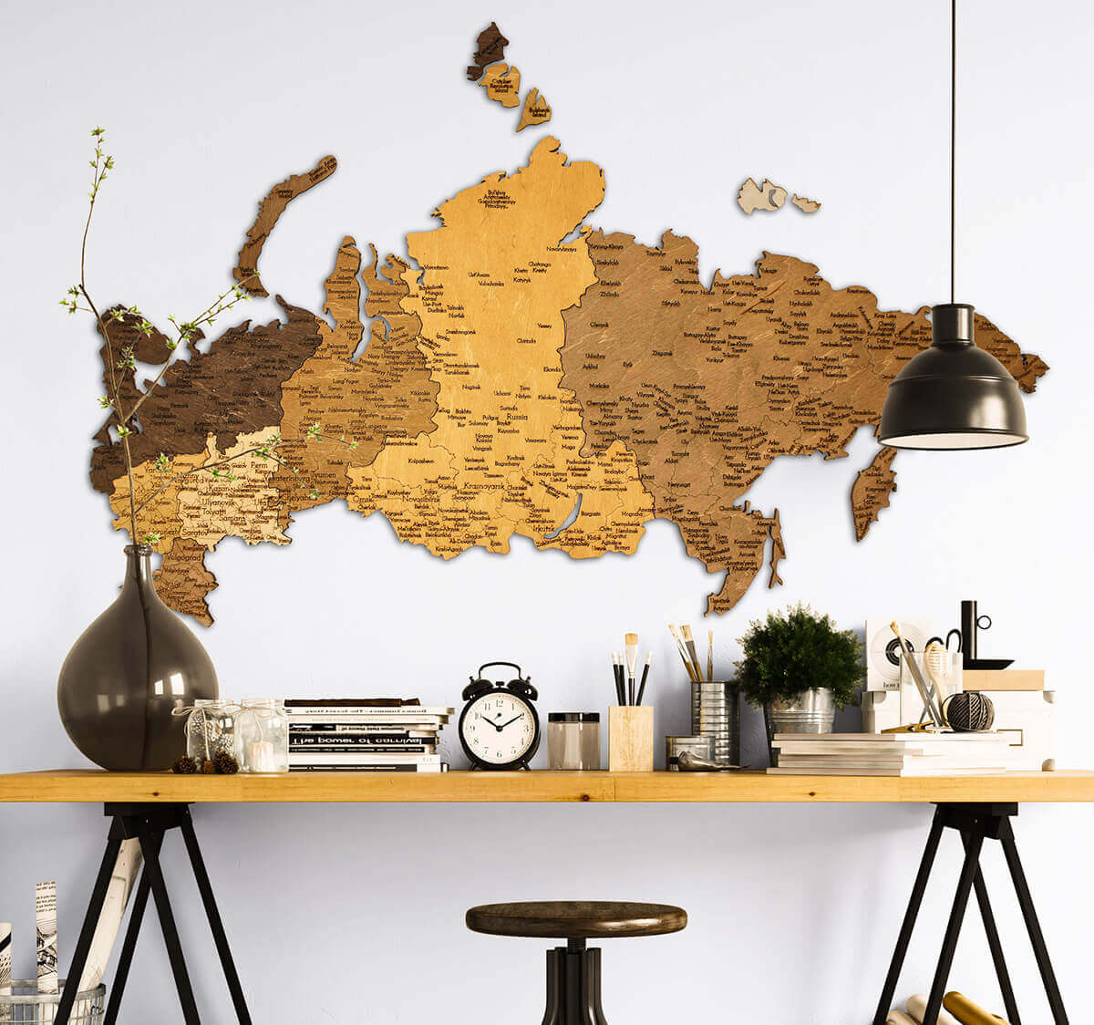 Carte de la Russie en bois