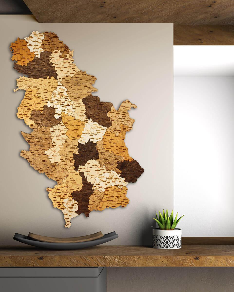 Carte de la Serbie en bois