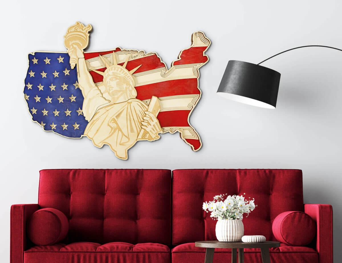 Statue de la Liberté et carte des États-Unis