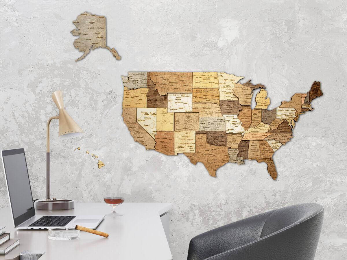 Carte en bois des États-Unis